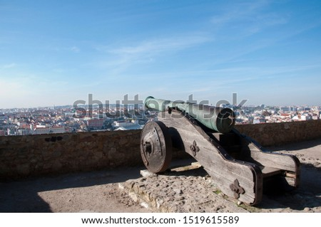 Old cannon facing Lisbon city in Portugal (Europe). #1519615589