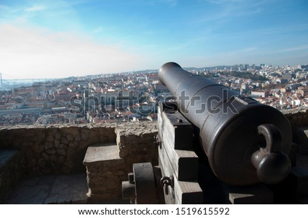 Old cannon facing Lisbon city in Portugal (Europe). #1519615592