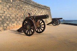 Old cannon in the Fortress Castle of San Gabriel, Canary Islands Lanzarote Spain Europe