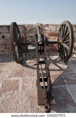Old cannon on Mehrangarh Fort,Jodhpur (blue city)