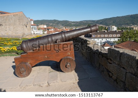 Old cannon on the castle wall of Chaves. Portugal. #1513113767