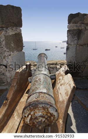 old cannon on the fortress resort in Bodrum Turkey