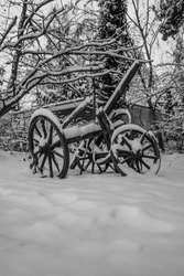 old cannon on the snow