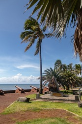 Old cannons and palm tree at the waterfront of Saint Denis on Reuinion island in the Indian Ocean