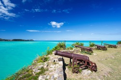 Old cannons at Fort James in Antigua.