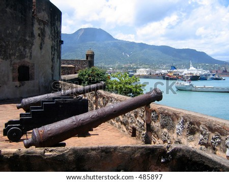 Old Cannons at San Felipe Fortress overlooking Puerto Plata Port. Dominican Republic.