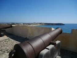 Old cannons that defended the Sagres Fort, Algarve, Portugal