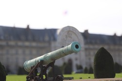 Old canon in front of army museum in paris france