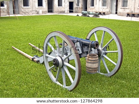 Old canon on wheels in exhibition inside the fort. Castillo de San Marcos, St. Augustine, Florida. 16th century