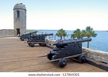 Old canons aiming at the sea, in a fort, on an overcast day. Castillo de San Marcos, St. Augustine, Florida. 16th century.