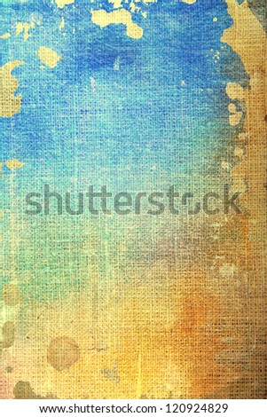 Old canvas: abstract textured background with blue, yellow, and brown patterns. For art texture, grunge design, and vintage paper / border frame