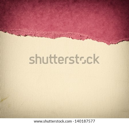 old canvas texture background with delicate stripes pattern and pink vintage torn paper