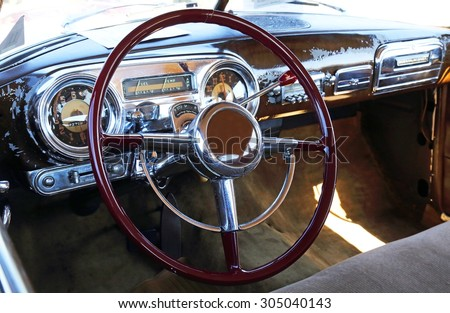 Old car cockpit