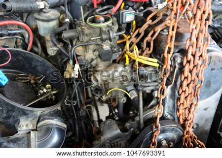 Old car engine is repairing #1047693391