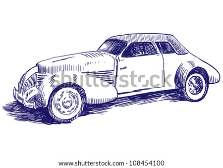 Old car - Hand drawing picture - This is original blue sketch