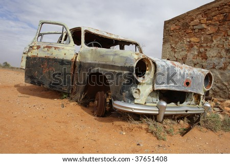 old car in Australian outback