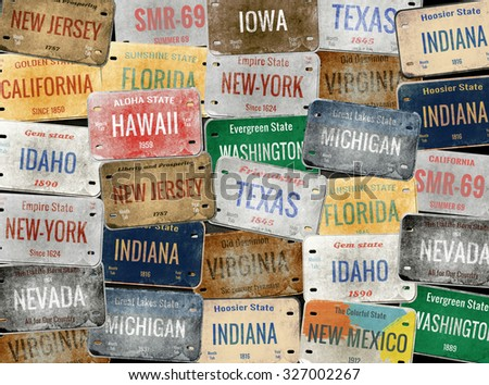 old car plates. collage....