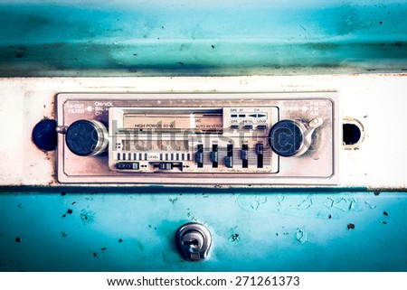 old car radio in vintage car