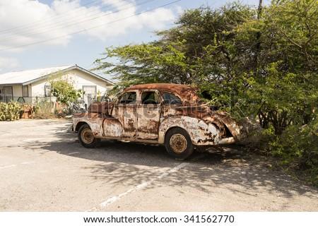 Old car  - Views around the Caribbean Island of Curacao