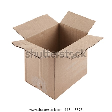 Old cardboard box with clipping path