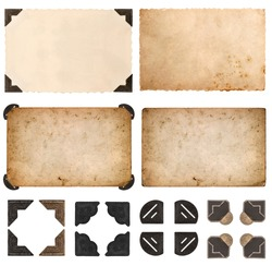 old cardboard, photo cards, frames and corners isolated on white background