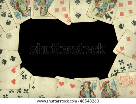 Old cards frame - stock photo
