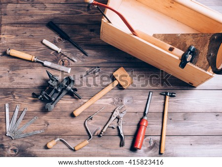 Old Carpenter Tools On Wooden Background Ez Canvas