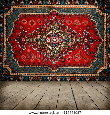 Old carpet on wall