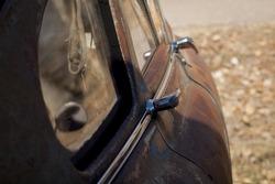 Old cars at the garage in Ramah, Colorado.
