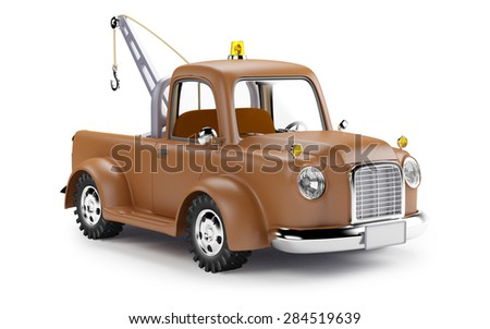 old cartoon tow truck on white...