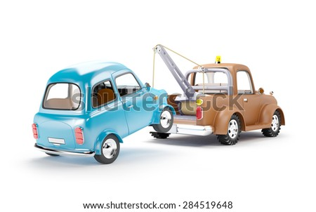 old cartoon tow truck with car...
