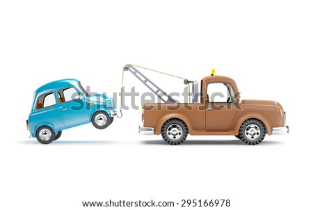 old cartoon tow truck with car on white background, side view