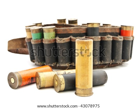 old cartridge for hunting rifle against white background