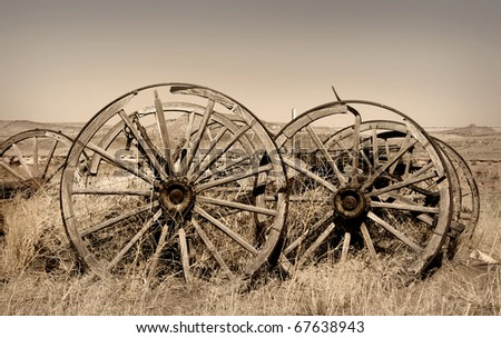 Old carts in a Ghost town near Cody, Wyoming