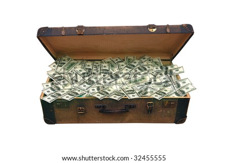 old case full of one hundred dollar bills.isolated with clipping path