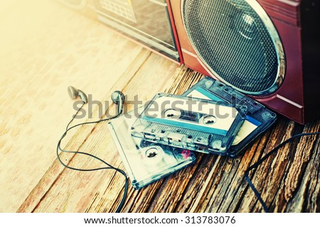 old cassette tape and player on ...