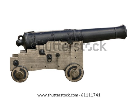 Old cast iron cannon isolated on white