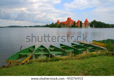 Old castle and boats in Trakai Lithuania