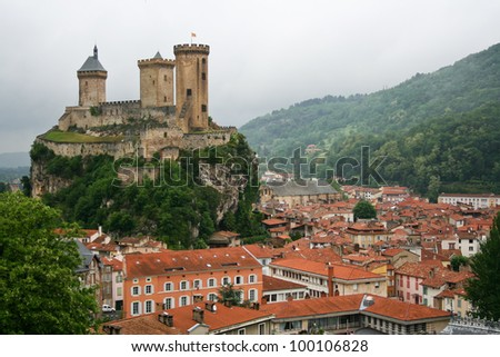 old castle in the center of Foix, France