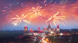 Old Castle Kamenetz-Podolsk medieval castle town of Kamenetz-Podolsk, Ukraine is one of the historical monuments. View of a beautiful evening with illumination  city lights in the night sky