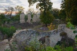 Old castle ruins in Czech Republic. Stone ruins of castle from 15th century. Trees growing over old ruins of castle called Pravda.