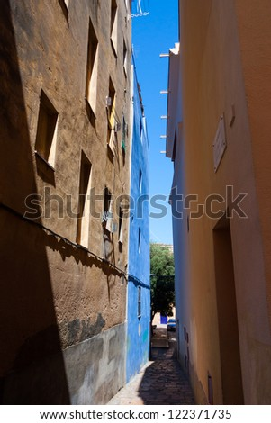 Old catalonia street in Spain - stock photo