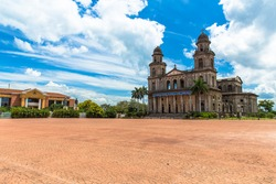 Old Cathedral in Revolucion Square that was damaged by an earthquake in Managua Nicaragua with a quote form the poet Ruben Dario, born in 1867,