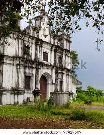 Old catholic church in Goa. Heritage of Portuguese colony.. India