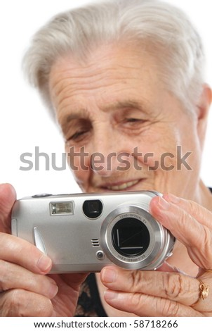 Old Caucasian woman looking off camera
