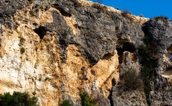 Old caves and an old stairs built in the mountains of Mersin Turkey to protect the believers in the Chris