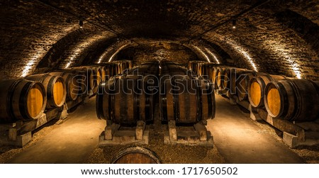 Photo of  Old cellar with bottles and barrels under castle making wine