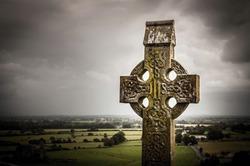Old celtic cross in Rock of Cashel, Ireland