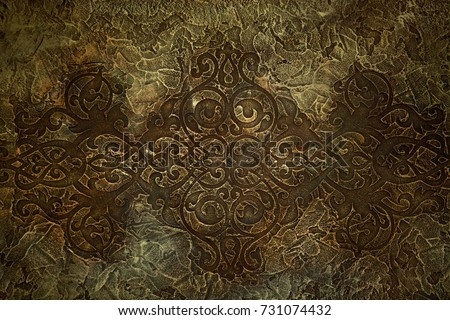 Old celtic pattern texture on stone with Moss - vintage background. Natural stone with antique celtic symbols. Mythological Seamless pattern design in medieval style.