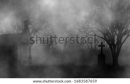 Old cemetery in the fog with vintage mausoleums, high crosses, and creepy spooky trees on grassfield. Stockfoto ©